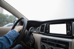 Hands on wheel driving car Stock Photography