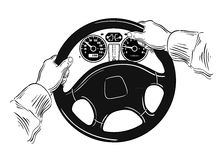 Hands on the wheel. vector illustration Royalty Free Stock Images