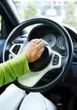 Hands on wheel Stock Photo