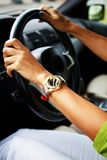 Hands on wheel Royalty Free Stock Image