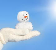 Hands in white gloves holding snowman Stock Photos