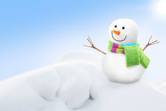 Hands in white gloves holding snowman Royalty Free Stock Image