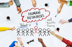 Hands on Whiteboard with Human Resources Concepts.  Royalty Free Stock Images