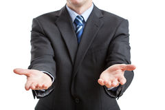 Hands wide open. In gesture to invite to cooperation royalty free stock images