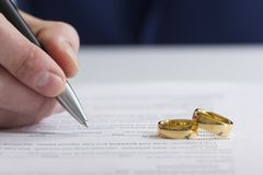 Hands of wife, husband signing decree of divorce, dissolution, canceling marriage, legal separation documents, filing. Divorce papers or premarital agreement Royalty Free Stock Photo