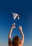 Hands&wings-1. Learning to fly Royalty Free Stock Photo