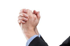 Hands of a winner. Hands in gesture of a victory, isolated background Stock Photo