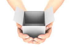 Hands witch white box. Clipping path included. 3D render Stock Image