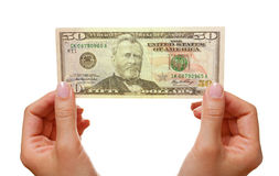 Hands With Dollars Royalty Free Stock Photography