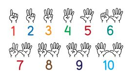 Free Hands With Fingers Icon Set For Counting Education Royalty Free Stock Images - 171022579