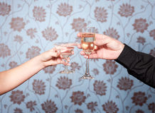 Hands With Glasses Of Vine And Martini Royalty Free Stock Image