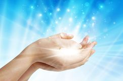 Free Hands With Spark Of Hope, The Light Of Faith Background Royalty Free Stock Photos - 135400698
