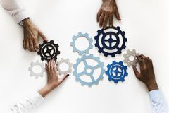 Free Hands With Support Gears On White Background Stock Photography - 111362032