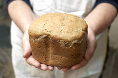 Hands of woman baker with bread Stock Images