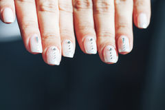Hands of a Woman with Decorated Nails Stock Images