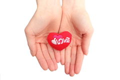 Hands of woman holding red heart. White background Royalty Free Stock Image