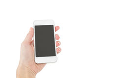 Hands of a woman holding smartphone Stock Photography