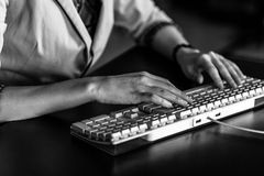 Hands of a woman with keyboard Royalty Free Stock Photos
