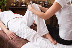 Hands of woman making massage Royalty Free Stock Images