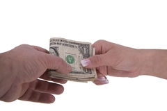 Hands of woman and man with dollars Stock Image