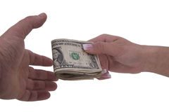 Hands of woman and man with dollars Stock Photos