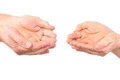 Hands of woman, man show panhandle gesture stock photography
