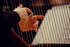 Hands of a woman playing the harp Stock Image