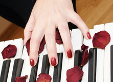 Hands of a woman playing piano Royalty Free Stock Image