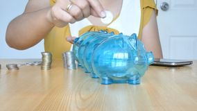 Hands of woman putting money coin into 4 clear piggy bank with blank metaphor separate kind of money for spend and saving in diffe. Rence budget financial stock video