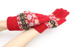 Hands of woman putting on woolen glove. White background Royalty Free Stock Photos