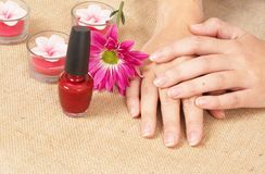 Hands of a woman in a spa Royalty Free Stock Images