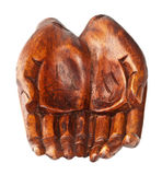 Hands of wood carved by hand. Royalty Free Stock Images