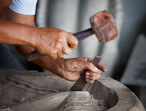 Hands woodcarver with the tools Stock Photos