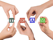 Hands and word Team Stock Images