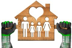 Model House with Family and Heart. Hands with work gloves holding a wooden model house with a symbol of family and heart. Isolated on a white background Royalty Free Stock Image