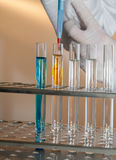 Hands by work in laboratory Royalty Free Stock Image