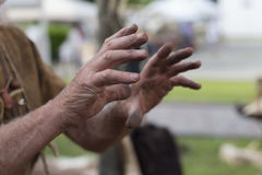 Hands` worker. The hands` worker during a working day Royalty Free Stock Photos