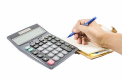 Hands working on the calculator Royalty Free Stock Photo