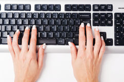 Hands working on  keyboard Royalty Free Stock Photography