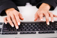 Hands working on  keyboard Royalty Free Stock Image