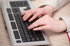 The hands working on the keyboard in the office Stock Image