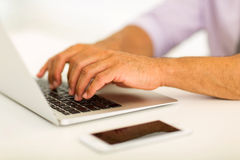 Hands working on laptop Royalty Free Stock Photo