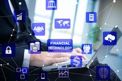 The hands working on laptop in financial technology fintech concept. Hands working on laptop in financial technology fintech concept Stock Photography