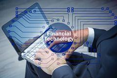 The hands working on laptop in financial technology fintech concept. Hands working on laptop in financial technology fintech concept Stock Images