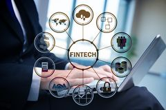 The hands working on laptop in financial technology fintech concept. Hands working on laptop in financial technology fintech concept Royalty Free Stock Images