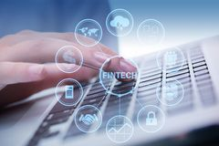 The hands working on laptop in financial technology fintech concept. Hands working on laptop in financial technology fintech concept Stock Image