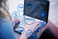 The hands working on laptop in financial technology fintech concept. Hands working on laptop in financial technology fintech concept Royalty Free Stock Photography