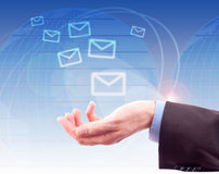 Hands with world mail delivery Royalty Free Stock Photos