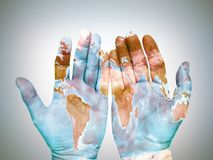 Hands with world map Royalty Free Stock Photography
