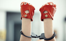Hands in wristlets Royalty Free Stock Photography